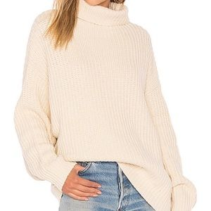 Free People oversized cream chunky knit sweater